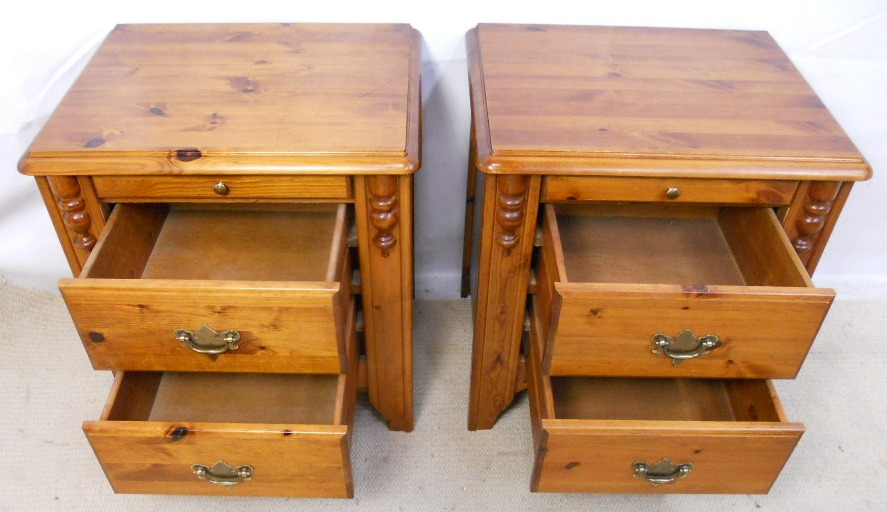 - Pair Pine Bedside Cabinets Storage Drawers - SOLD